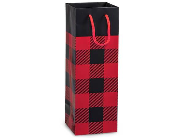 "Buffalo Plaid Matte Gift Bags, Wine 4.5x4.5x13"", 10 Pack"