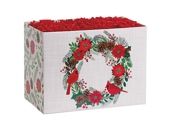 """Poinsettia Wreath Basket Boxes Small, 6.75x4x5"""", 6 Pack"""