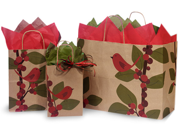 Red Bird Berries Paper Shopping Bags