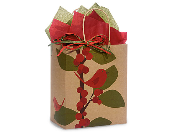 Cub Red Bird Berries 100% Recycled Paper Bags 250 8x4-3/4x10-1/4""