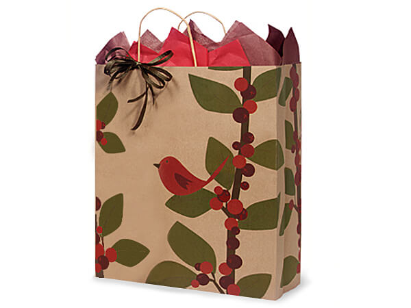 Queen Red Bird Berries 100% Recycle Paper Bags 25 16x6x19""