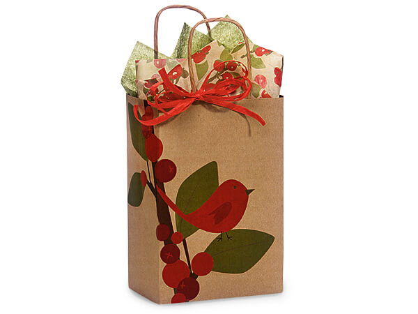 """Red Bird Berries 100% Recycled Bags Rose 5.5x3.25x8.5"""", 25 Pack"""