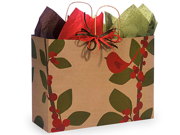 """Vogue Red Bird Berries Recycled Paper Bags 25 Pk 16x6x12"""""""