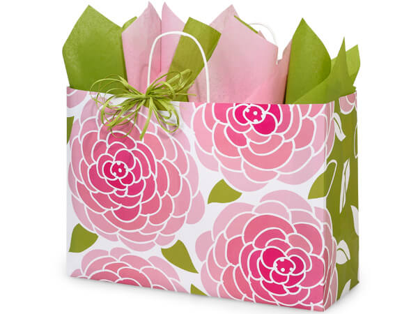 Vogue Rose Blossoms Paper Bags 25 Pk 16x6x12""