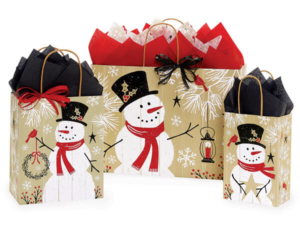 Rustic Berry Snowman Shopping Bag Assortment, 125 Pack