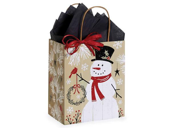 """Rustic Berry Snowman Shopping Bag Cub 8x4.75x10.25"""", 25 Pack"""