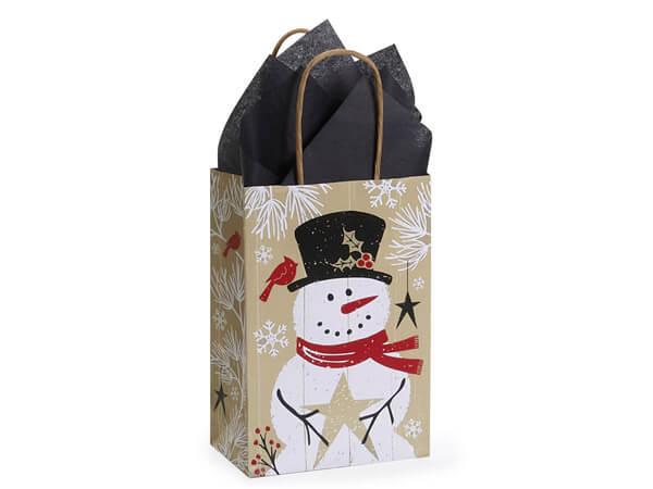 "Rustic Berry Snowman Shopping Bag Rose 5.5x3.25x8.5"", 25 Pack"
