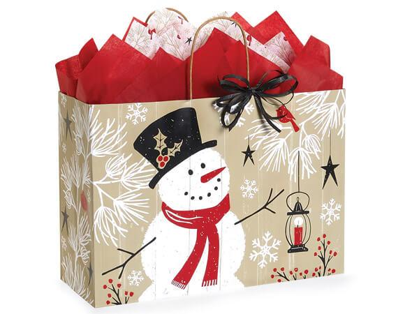 "Rustic Berry Snowman Shopping Bag Vogue 16x6x12"", 25 Pack"