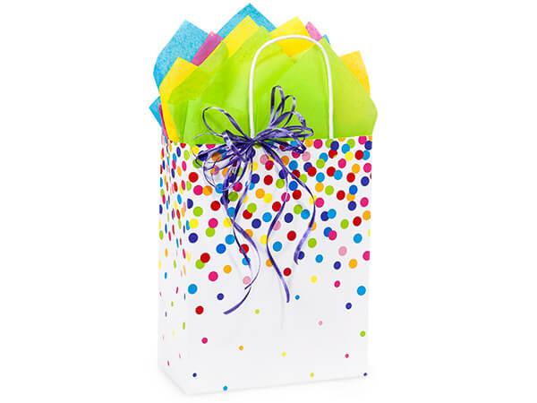 "Rainbow Confetti Paper Shopping Bags, Cub 8.25x4.75x10.5"", 250 Pack"