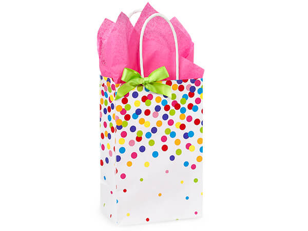 Rose Rainbow Confetti Shopping Bags 250 5-1/4x3-1/2x8-1/4""