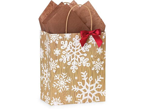 "Rustic Christmas Joy Paper Shopping Bags, Cub 8x4.75x10.25"", 250 Pack"