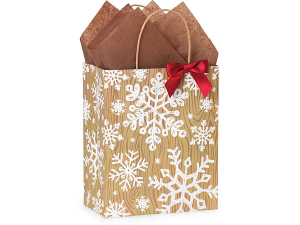 "Rustic Christmas Joy Paper Shopping Bags, Cub 8x4.75x10.25"", 25 Pack"