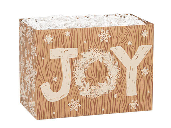 """Rustic Christmas Joy Basket Boxes, Small 6.75x4x5"""", 6 Pack"""