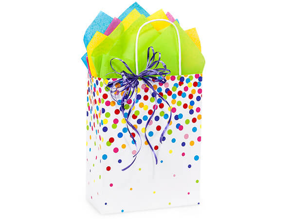 "Rainbow Confetti Paper Shopping Bags, Cub 8.25x4.75x10.5"", 25 Pack"