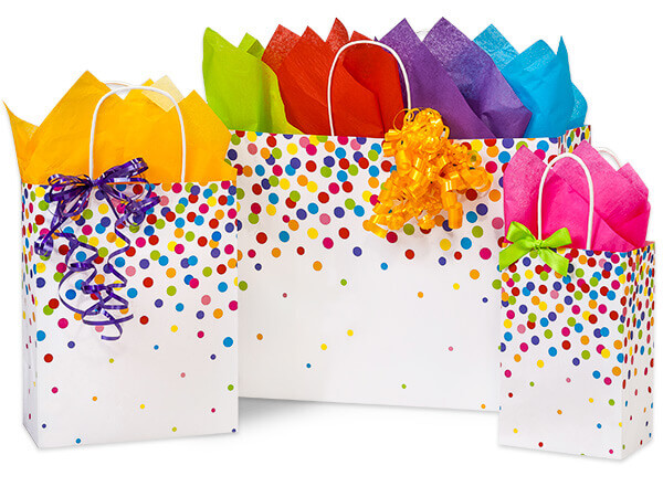 Rainbow Confetti Paper Shopping Bags, Small 25 Pack Assortment