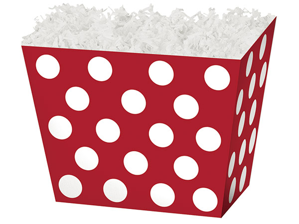 *Large Red & White Dots Angled Basket Box 10-1/4 x 6 x 7-1/2""