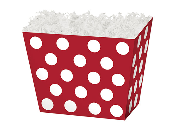*Small Red & White Dots Angled Basket Box 6-3/4 x 4-1/2 x 5""