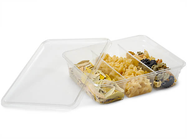 64 oz Rectangle 3 Divider Containers 9x7x2-3/8""