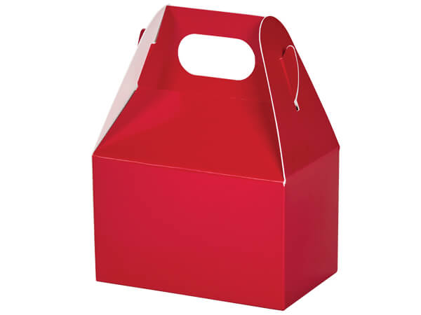 "Red Mini Gable Boxes, 4x2.5x2.5"", 6 Pack"