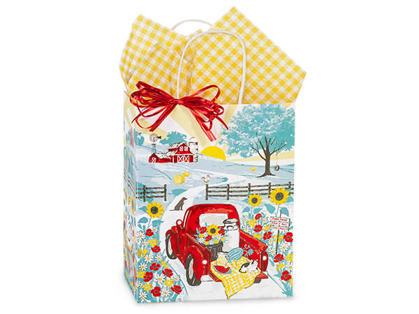 "Red Farm Truck Paper Shopping Bags Cub 8.25x4.75x10.5"", 250 Pack"