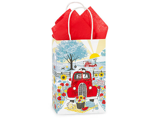 """Red Farm Truck Paper Shopping Bags Rose 5.25x3.5x8.25"""", 25 Pack"""