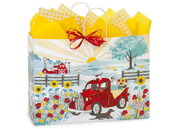 "Red Farm Truck Paper Shopping Bags Vogue 16x6x12.5"", 25 Pack"