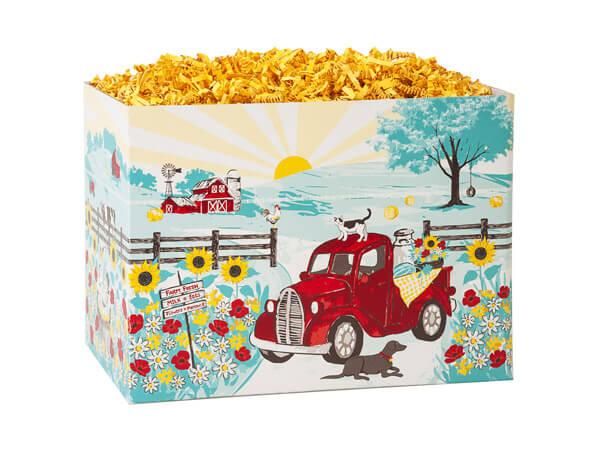 "Red Farm Truck Basket Box, Small 6.75x4x5"", 6 Pack"