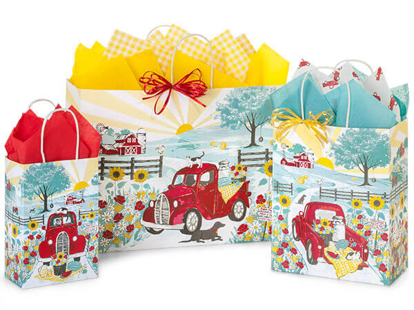 Red Farm Truck Paper Shopping Bags, Small 25 Pack Assortment