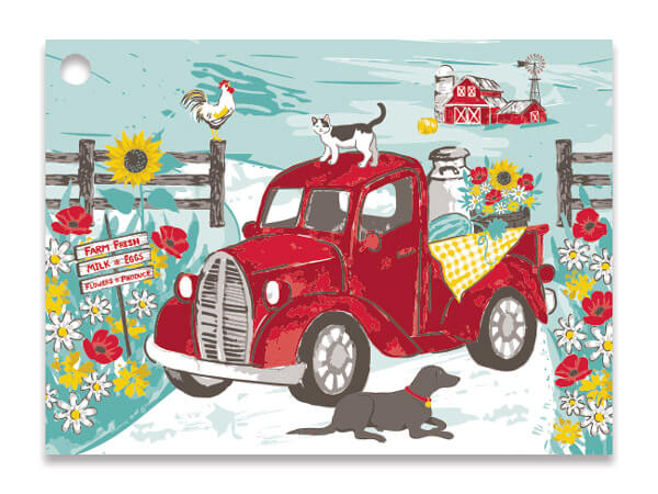 Red Farm Truck Theme Gift Cards 3.75x2.75, 6 Pack