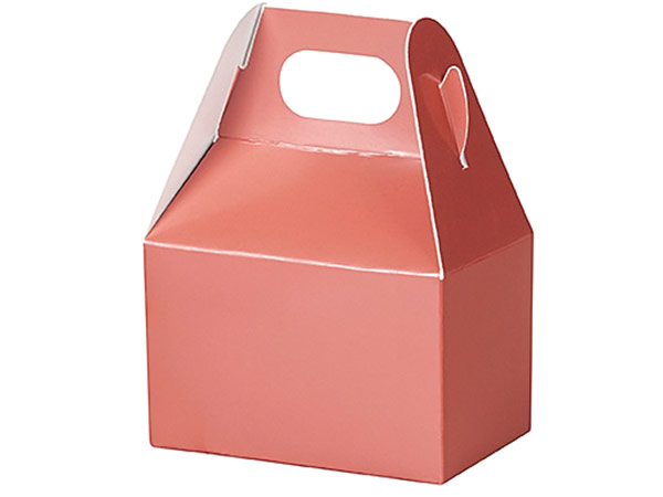 "Metallic Rose Gold Mini Gable Boxes, 4x2.5x2.5"", 6 Pack"