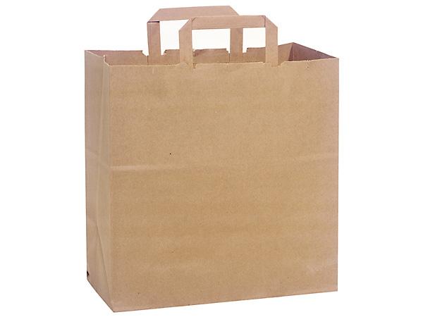"100% Recycled Kraft Paper Bags Market 12x7x12"",250 Pk Flat Handles"