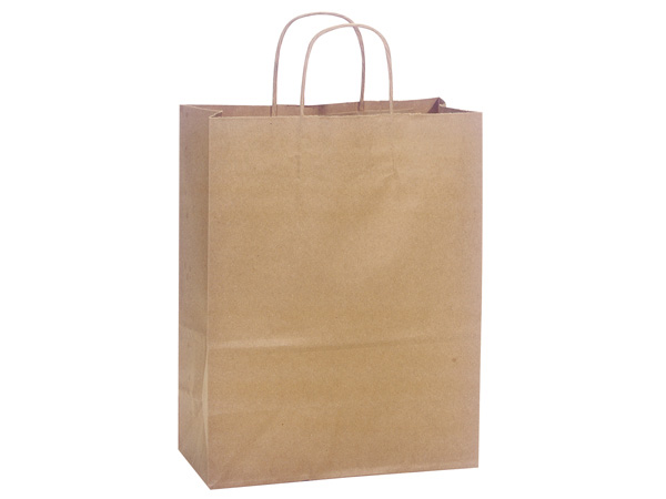 "100% Recycled Kraft Paper Bags Carrier 10x5x13"", 25 Pack"