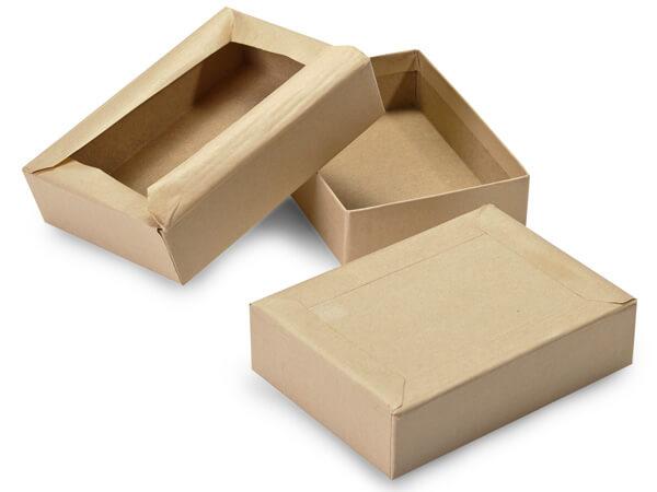 "Brown Kraft Mailing Boxes, Gummed Flap, 5x3.5x1.25"", 100 Pack"