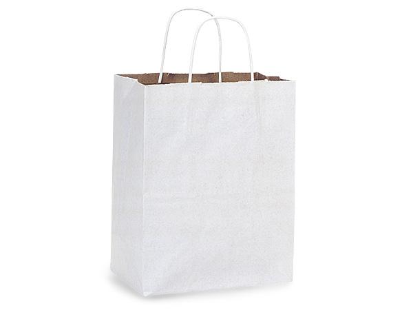 "Cub White Fusion Paper Bags 250 Pk 8x4-3/4x10-1/4"""