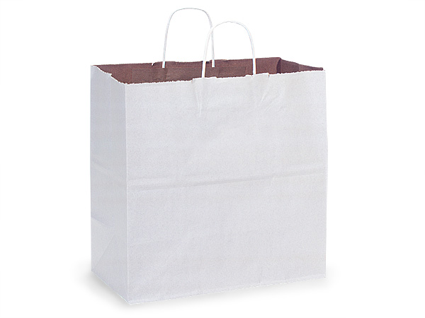 Filly White Fusion Paper Bags 25 Pk 13x7x13""