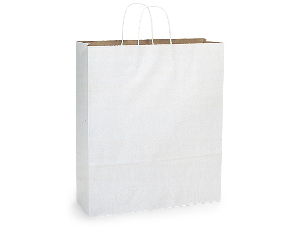 Queen White Fusion Paper Bags 25 Pk 16x6x19""