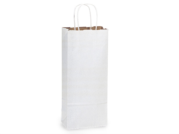 "*White Fusion Paper Bags Wine 5.5x3.25x13"", 25 Pack"