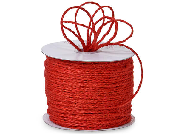 "Red Burlap Twine 2-ply 1/16""x100 yds 100% Jute"
