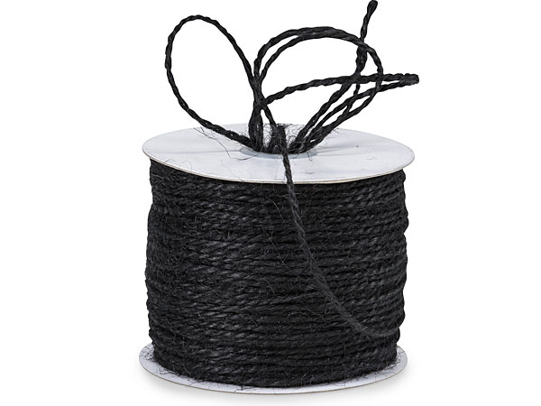 "Black Burlap Twine 2-ply 1/16""x100 yds 100% Jute"