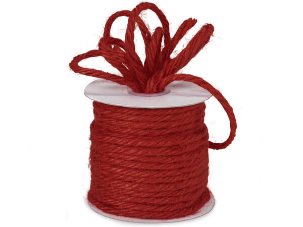 "Red Heavy Jute Twine 4-ply 1/8""x25 yds 100% Jute"