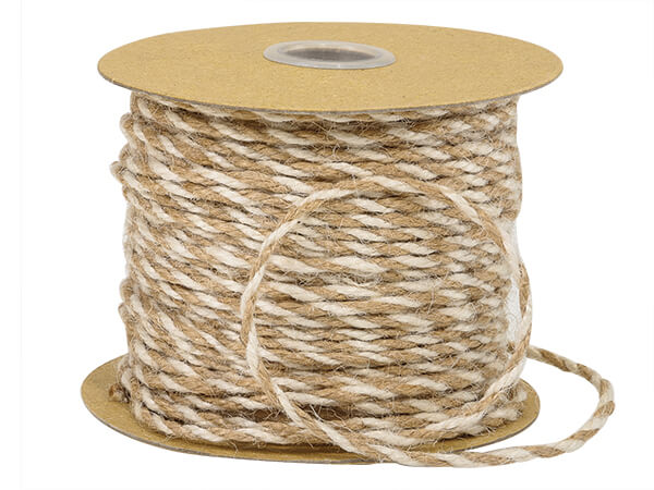 """White & Natural Duo Color Jute Twine 3-ply 1/8""""x50 yds"""