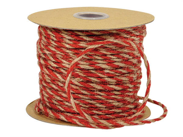 "Red and Natural Brown Twist Jute Twine, 1/8""x50 yards"