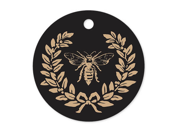 """Bee Round Printed Gift Tags 3"""" Circle, 50 Pack"""