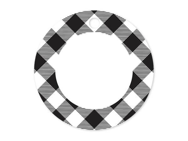 "Buffalo Plaid Black Round Printed Gift Tags, 3"" Circle, 50 Pack"