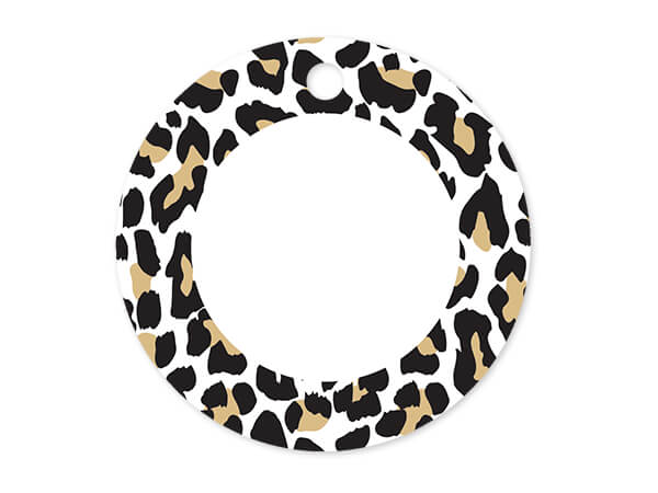 "Golden Leopard Round Printed Gift Tags, 3"" Circle, 50 Pack"