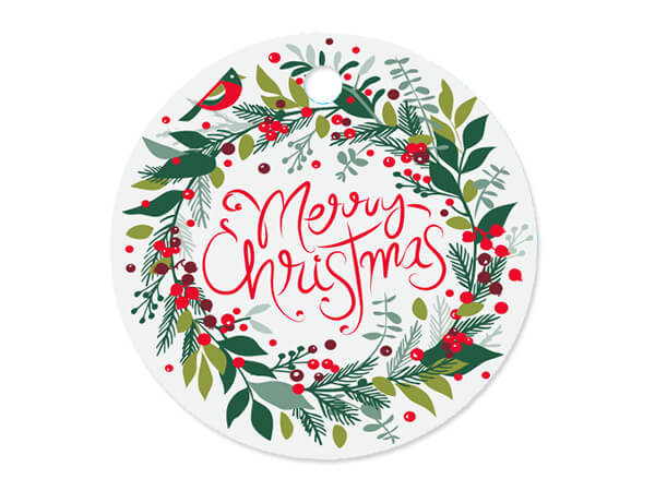 """Merry Christmas Wreath Round Gift Tags, 3"""" Circle, 50 Pack"""