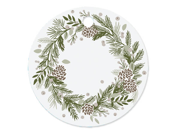 """Pine Holiday Round Printed Gift Tags, 3"""" Circle, 50 Pack"""