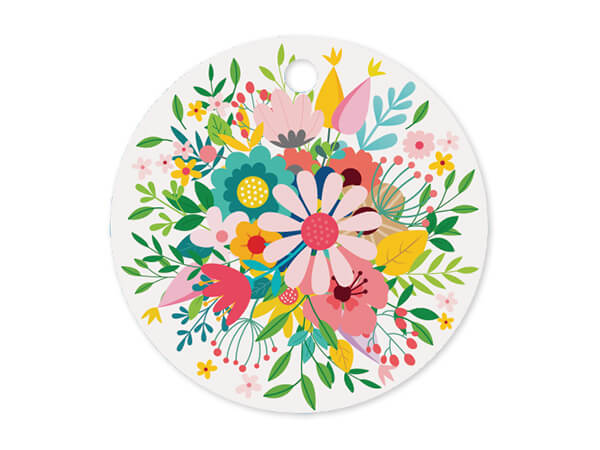 "Wildflowers Round Printed Gift Tags 3"" Circle, 50 Pack"