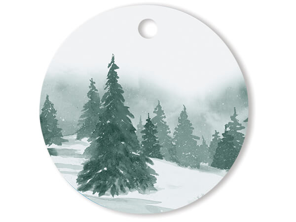 """Winter Pines Round Printed Gift Tags, 3"""" Circle, 50 Pack"""