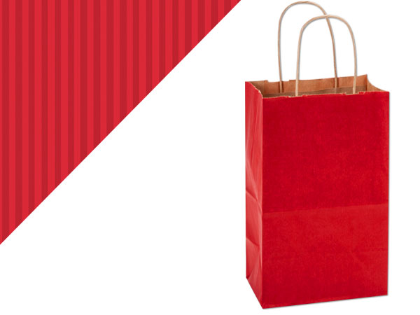 """Really Red Shadow Stripe Kraft Bags Rose 5.5x3.25x8.375"""", 250 Pack"""